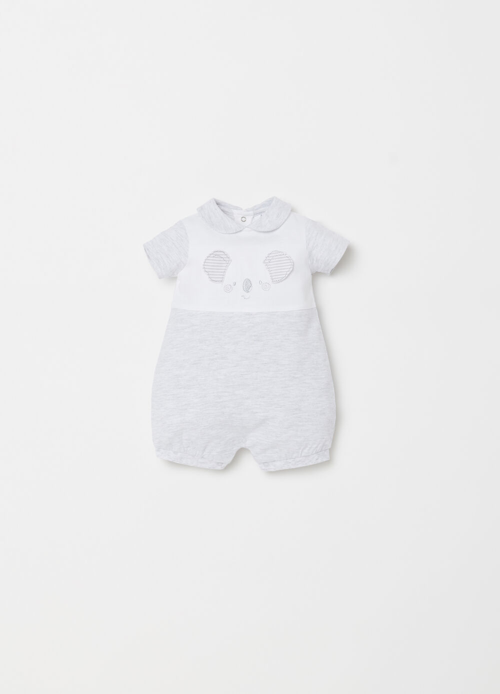 Short jersey onesie with embroidery and applications
