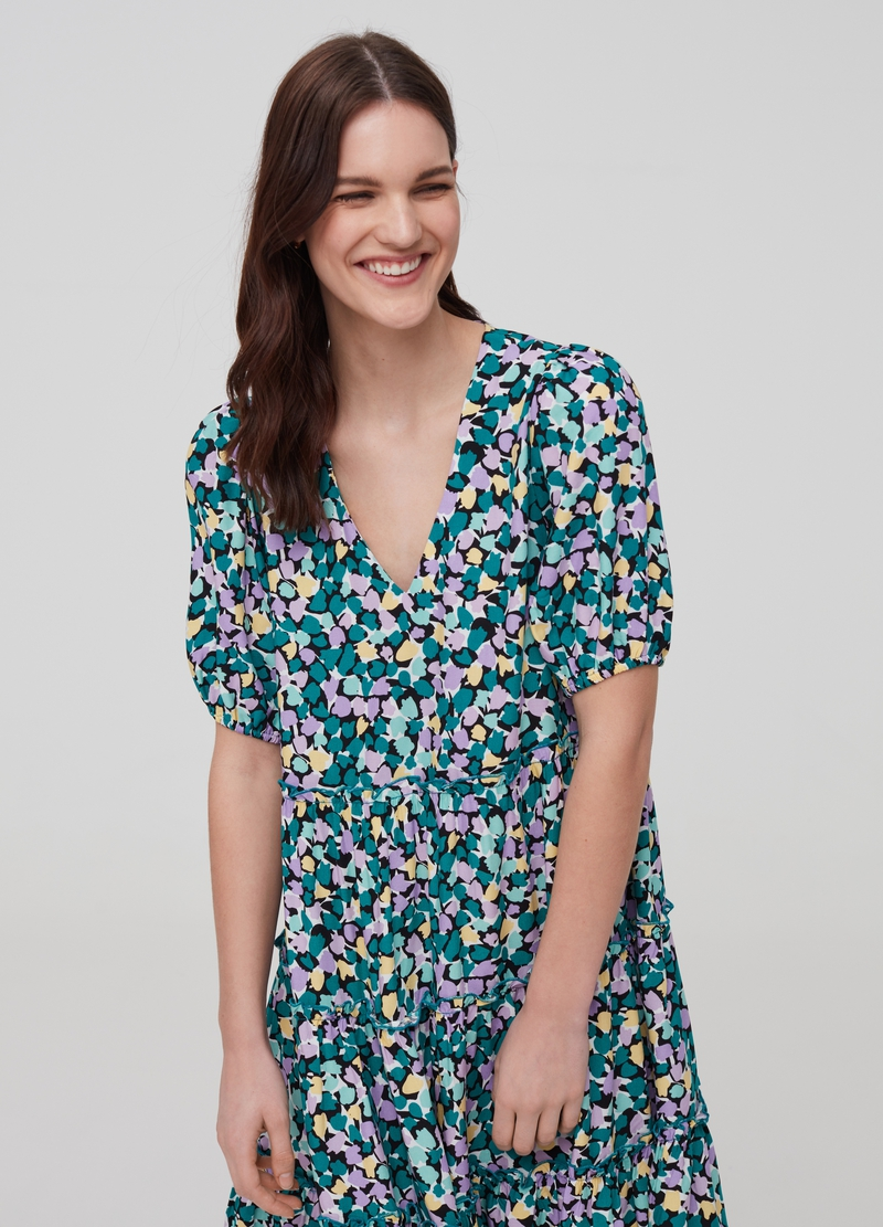 Short dress in 100% viscose with flounces image number null