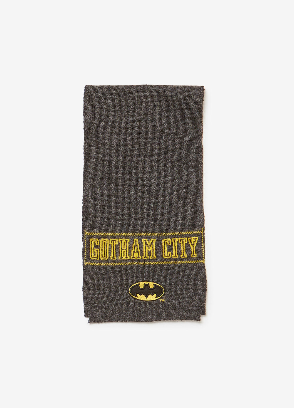 Sciarpa tricot con ricamo e patch Batman