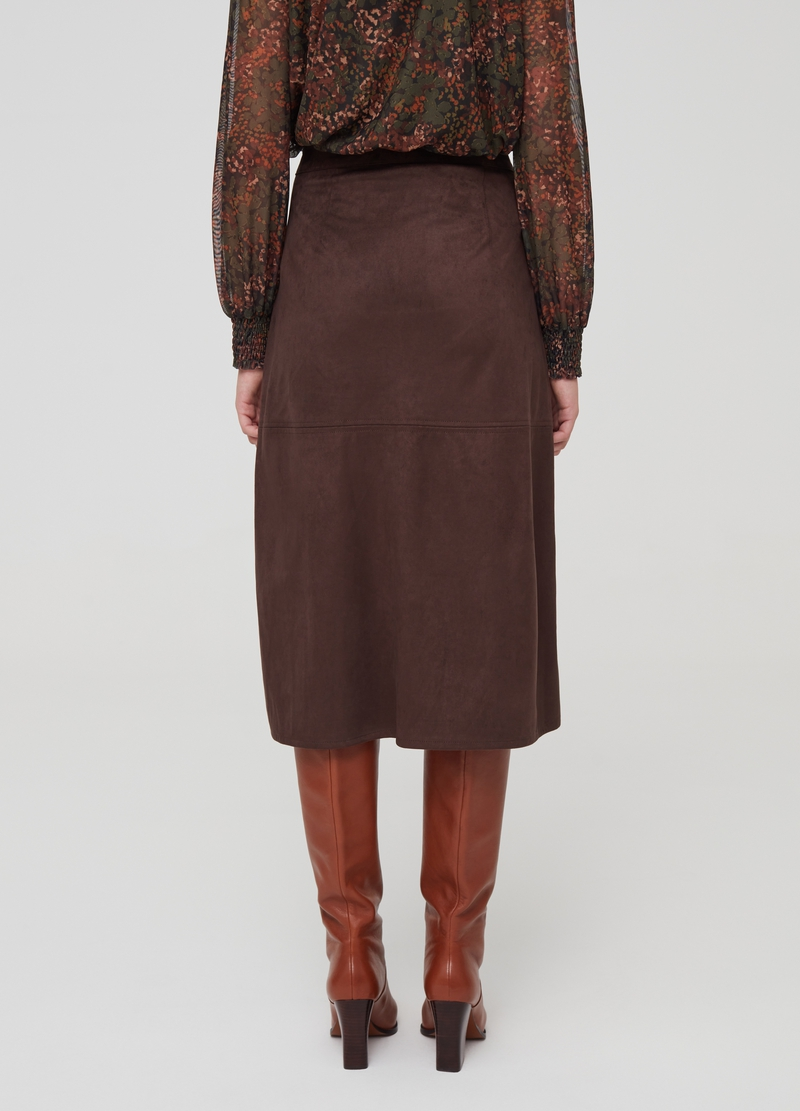 Suede-effect wraparound skirt image number null