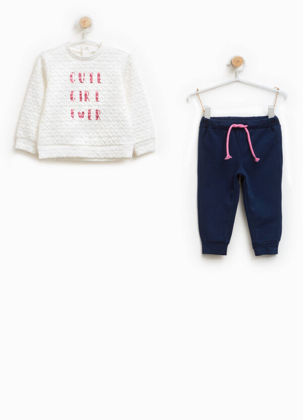 Viscose blend tracksuit with printed lettering | OVS