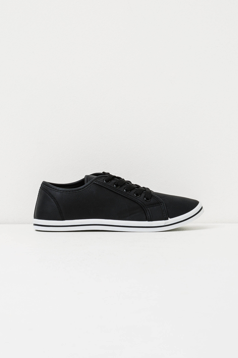 Solid colour sneakers with laces image number null
