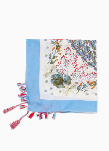 Floral patterned scarf with tassels