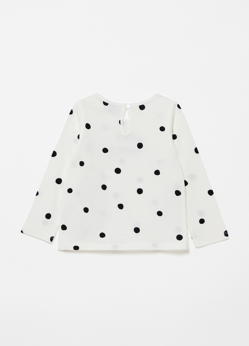 Polka dot T-shirt with lettering print image number null