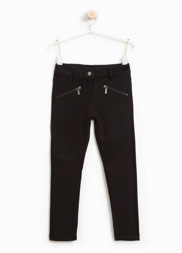 Pantaloni misto viscosa stretch con zip