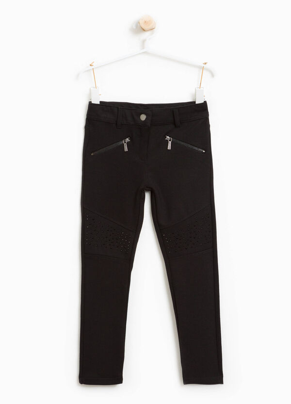 Pantaloni misto viscosa stretch con zip | OVS