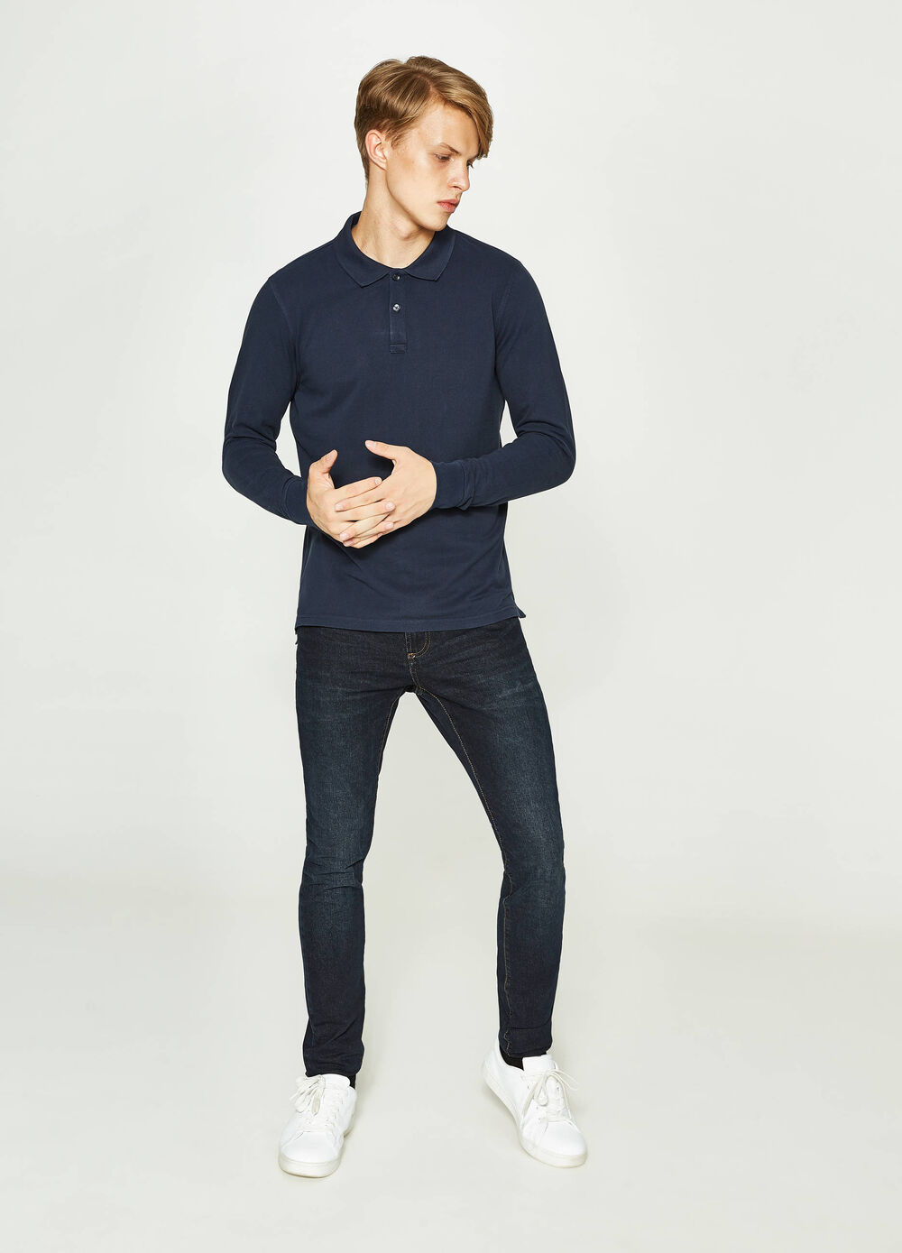 Polo shirt in 100% cotton with splits