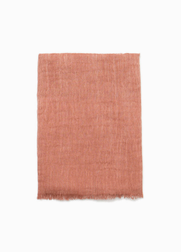 Solid colour scarf with fringed edging
