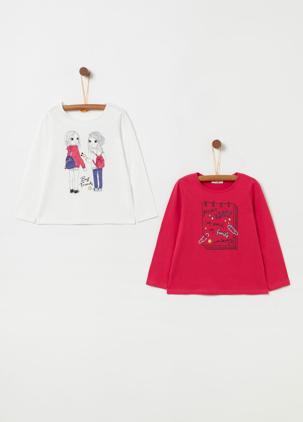 Set due t-shirt stretch con stampa
