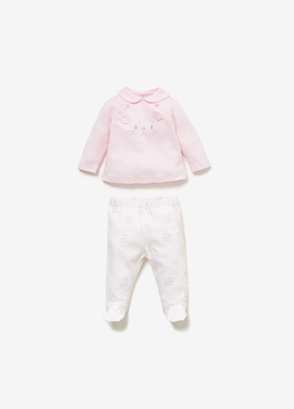 Cotton outfit with animal embroidery