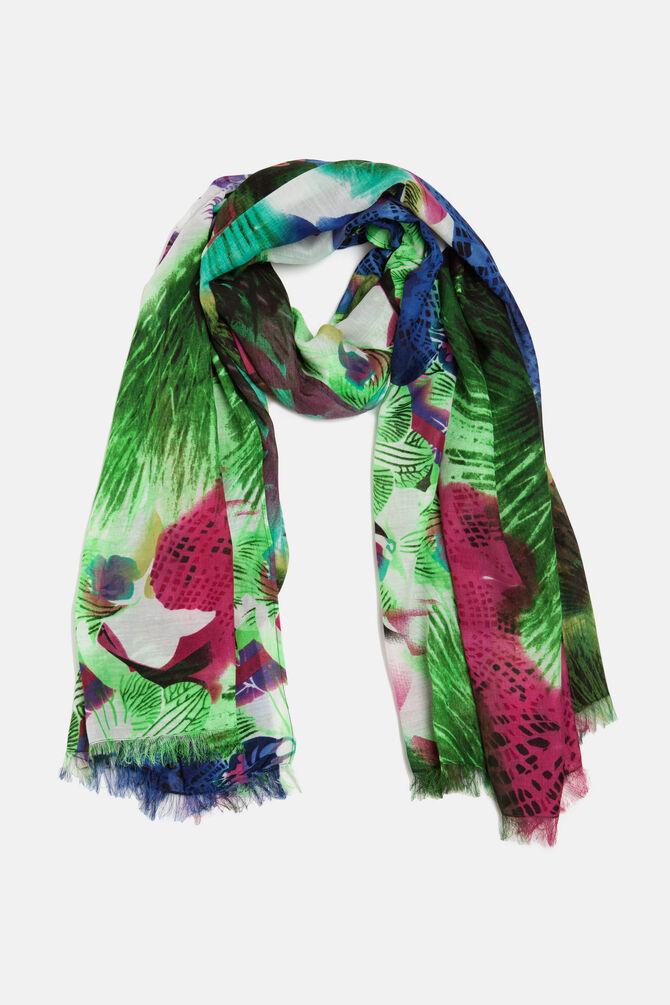 Multi-coloured floral scarf