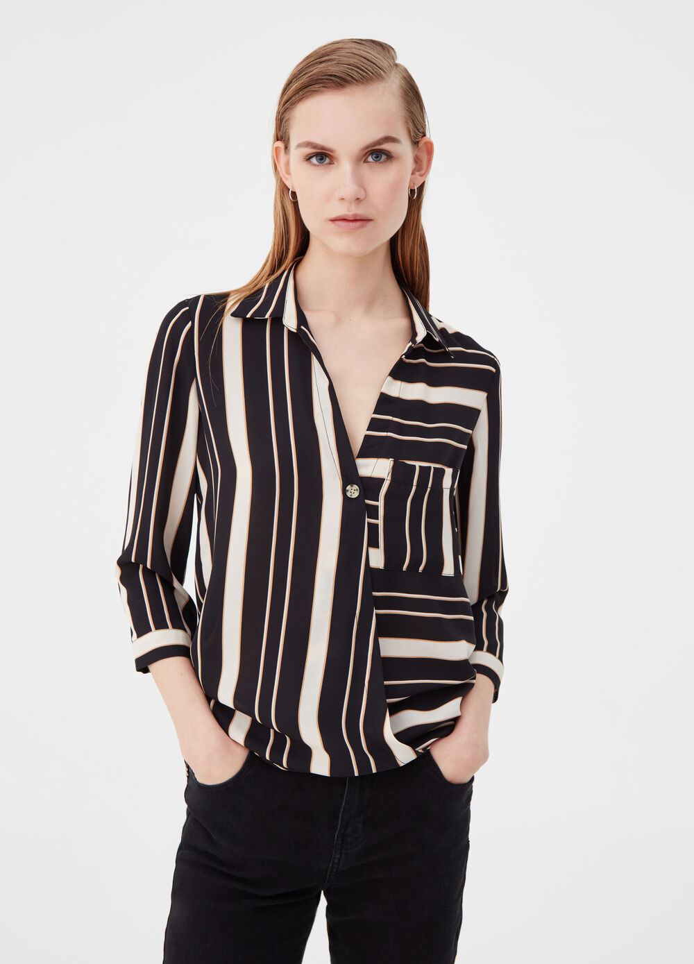 Blouse with a striped crossover