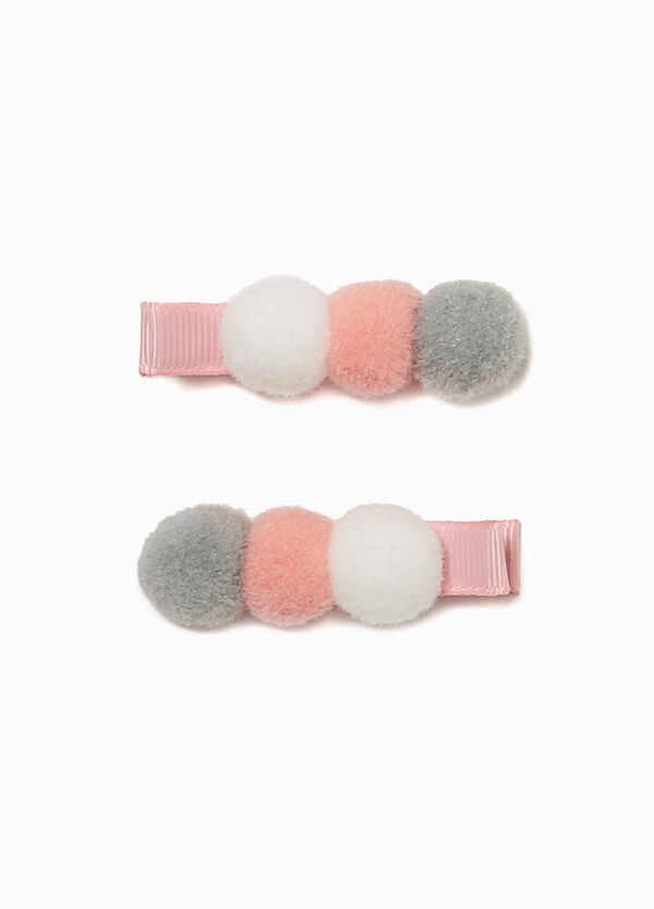 Set of two hair clips with pompoms