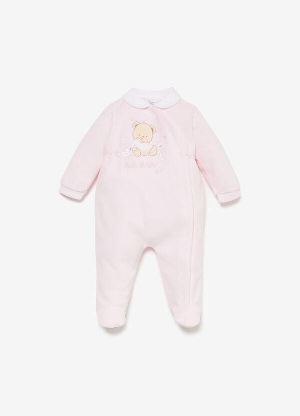 Cotton blend onesie with teddy bear patch