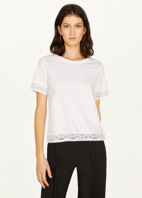 Modal and cotton T-shirt with lace