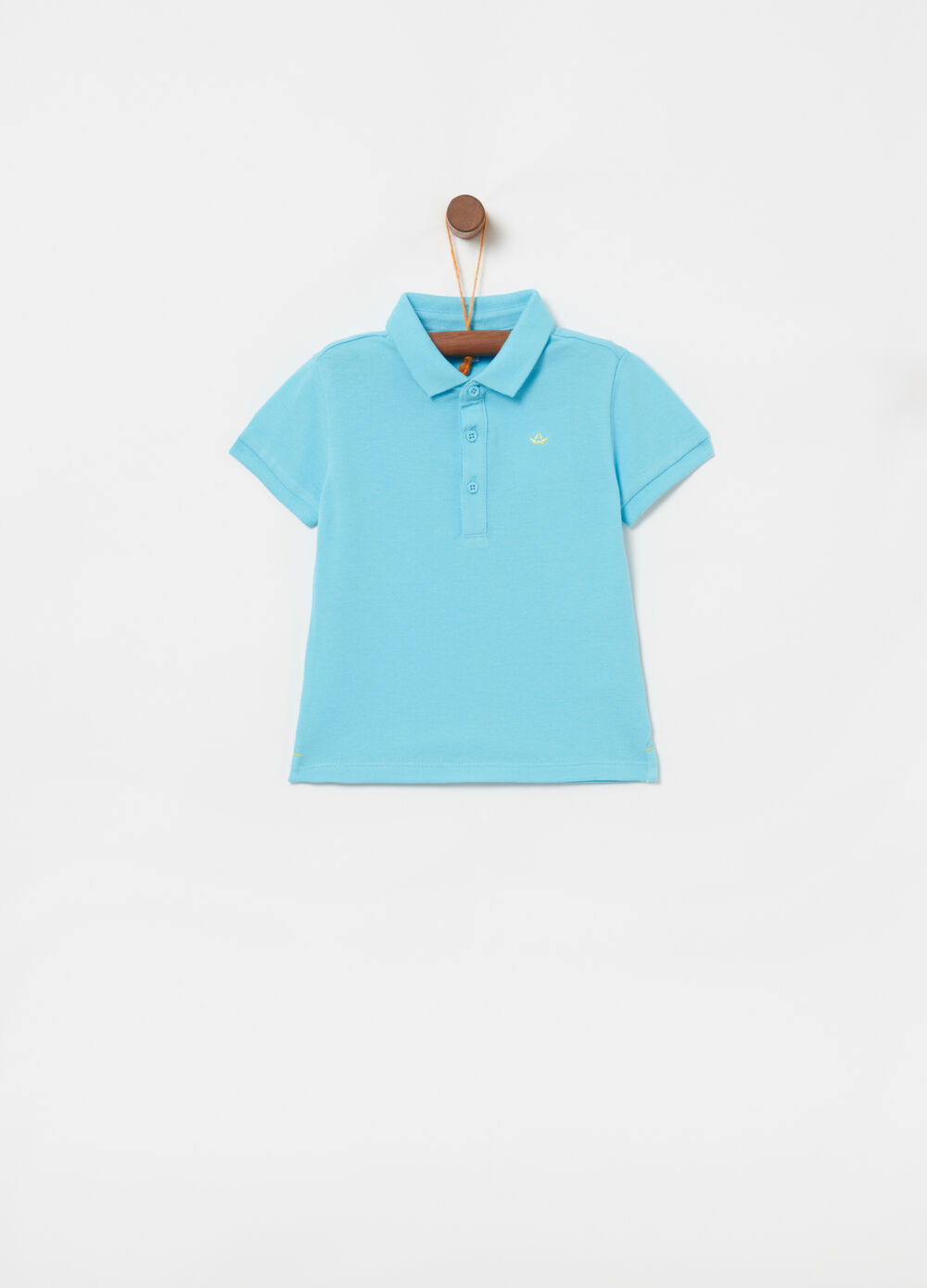 Cotton piquet polo shirt with boat embroidery