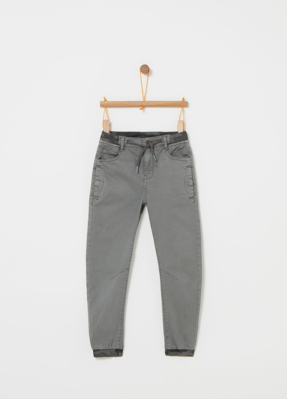 Twill joggers with five pockets