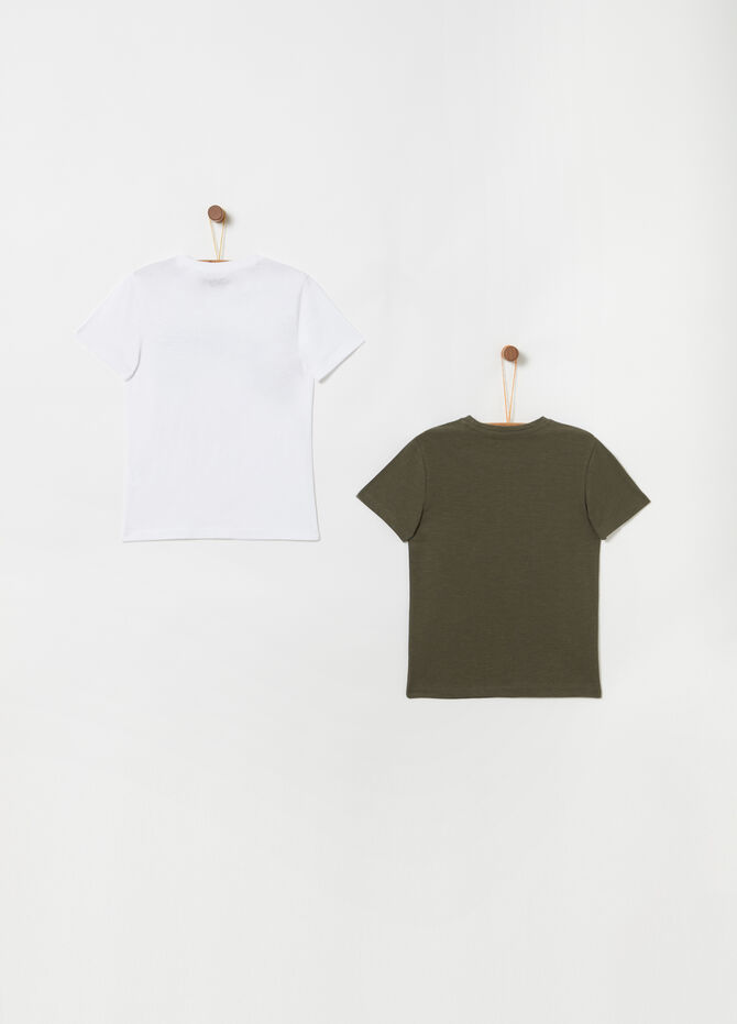 Two-pack T-shirts with print and ribbing