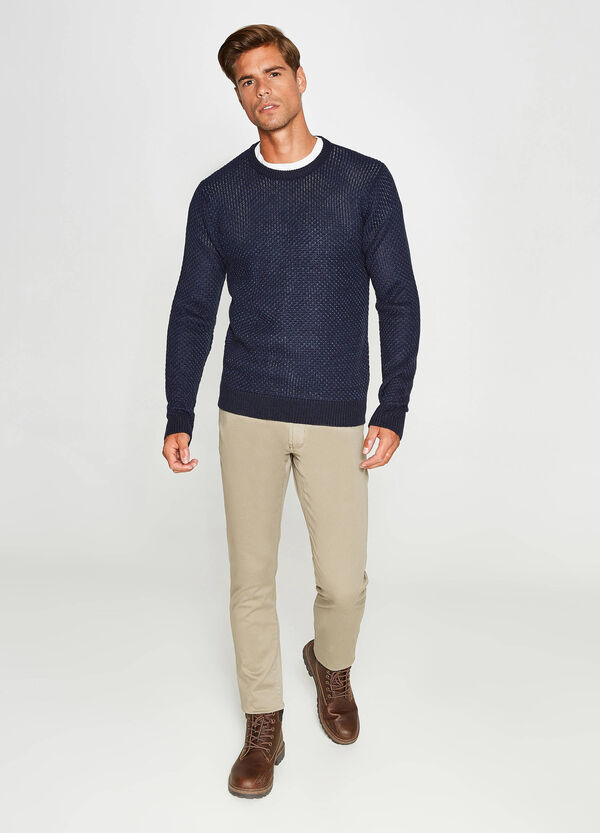 Solid colour pullover with knitted motif   OVS