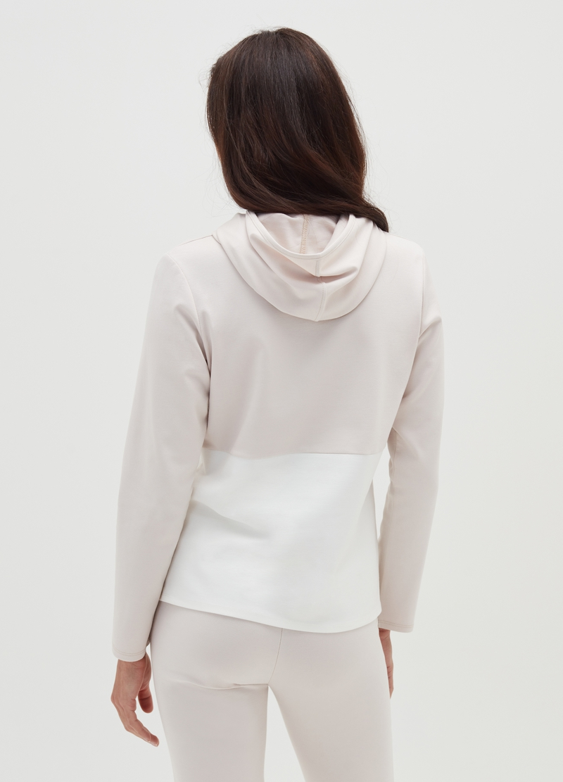 Stretch viscose sweatshirt with hood image number null