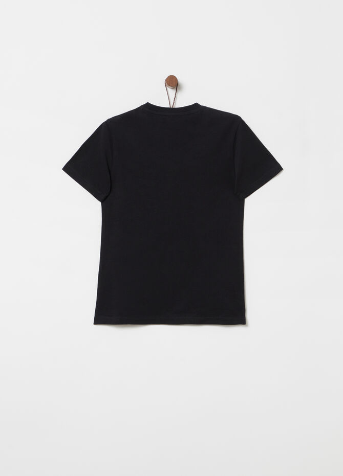 Jersey T-shirt with ribbed neck and print