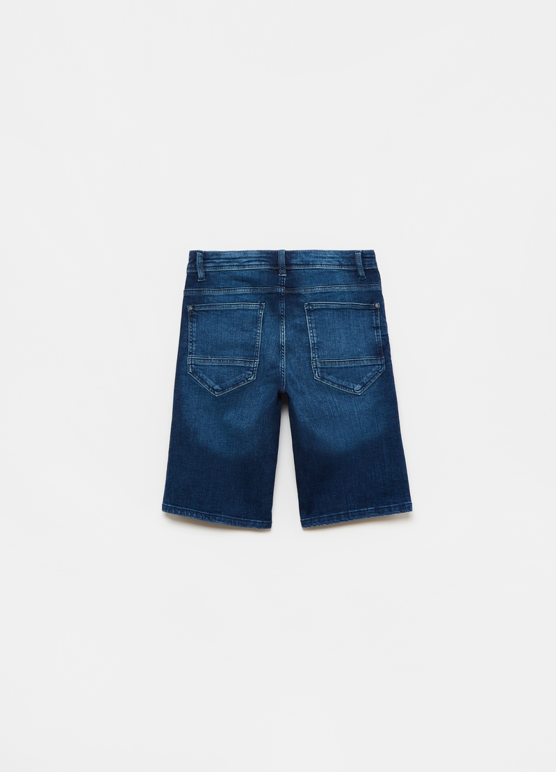 Denim Bermuda shorts with side ribbons image number null