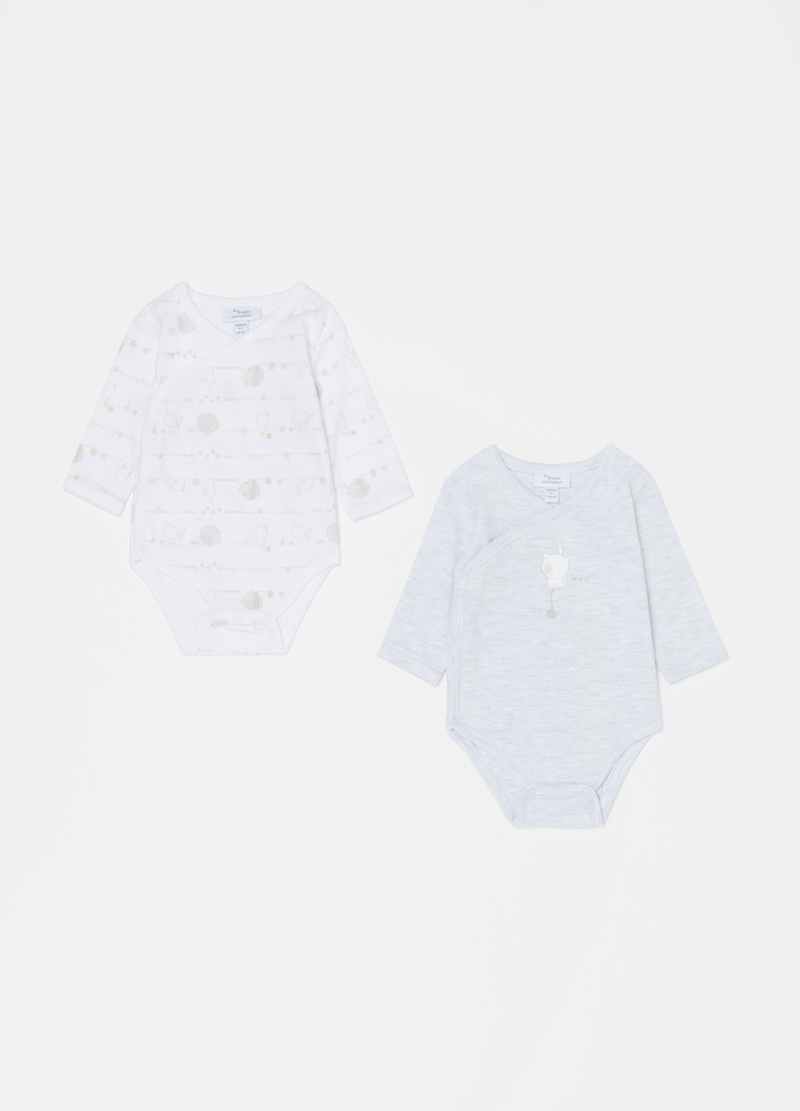 Two-pack long-sleeved bodysuits in 100% cotton image number null
