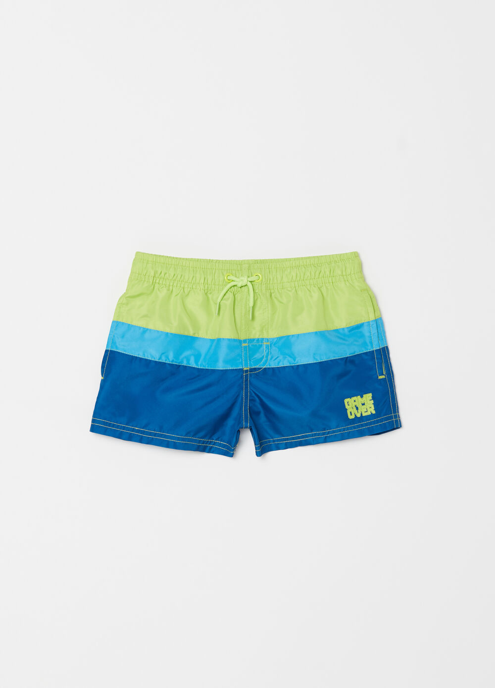 Shorts mare colorblock con coulisse