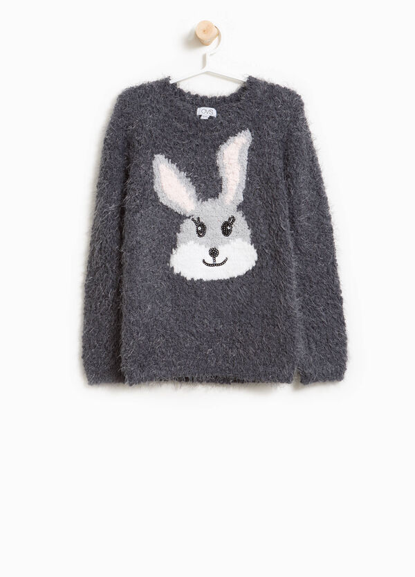 Frayed pullover with rabbit embroidery | OVS