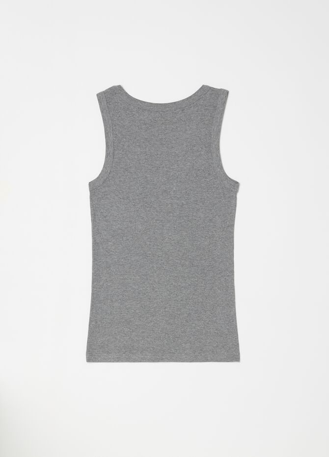 Viscose and cotton mélange racerback top