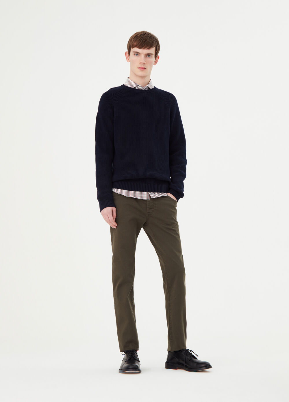 Slim-fit stretch trousers with five pockets