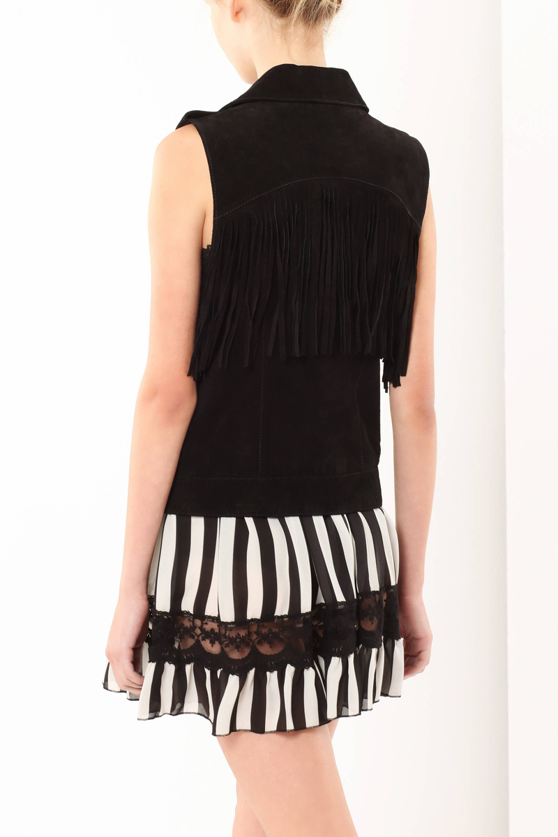 Leather vest with fringes image number null