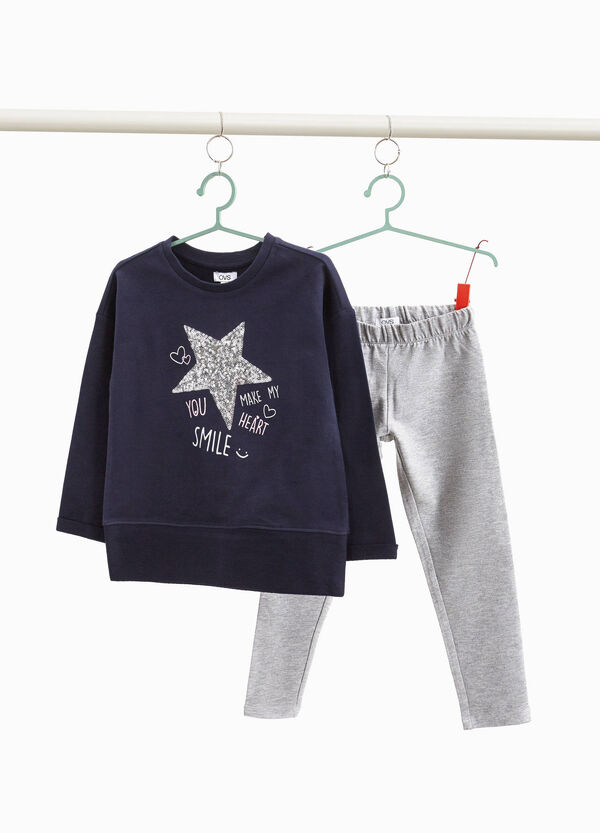 Tracksuit with lettering print and sequins