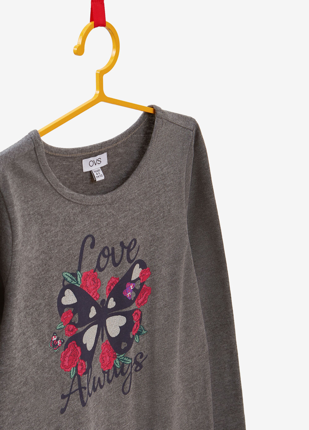 Cotton T-shirt with lettering and butterfly print