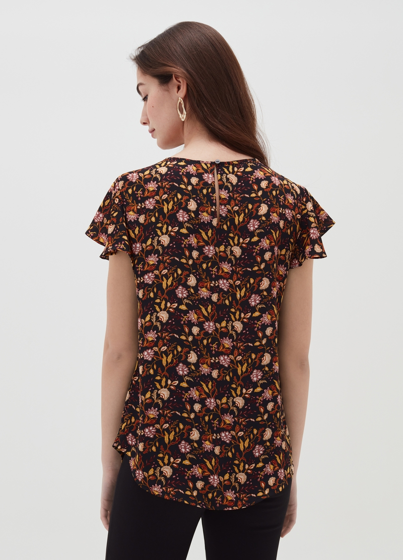 Blouse with butterfly sleeves image number null