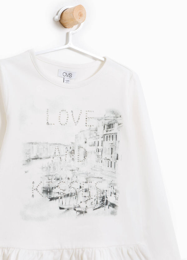 T-shirt in cotone stretch stampa e strass