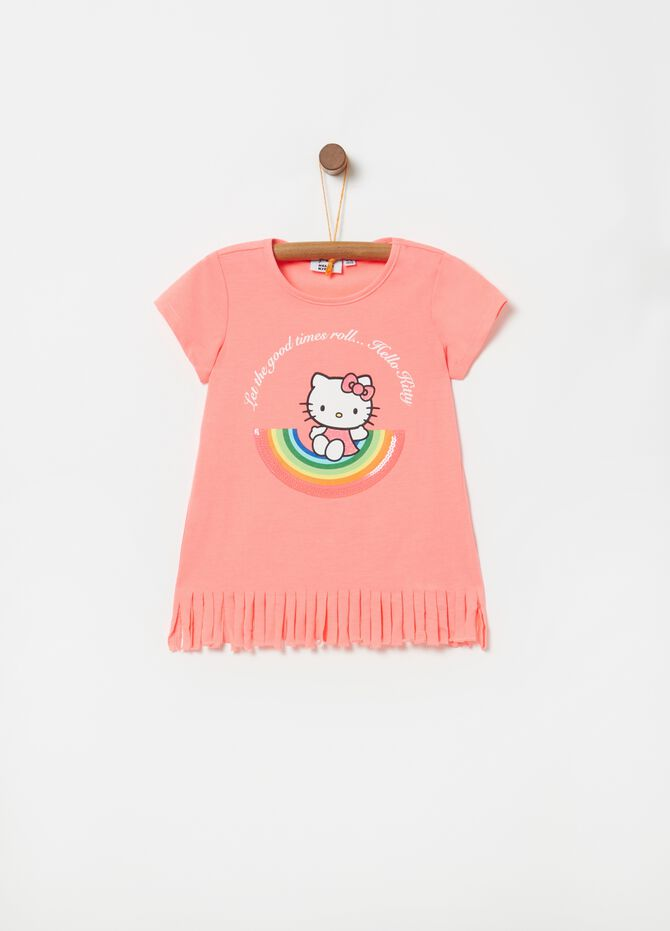 T-shirt con frange stampa Hello Kitty