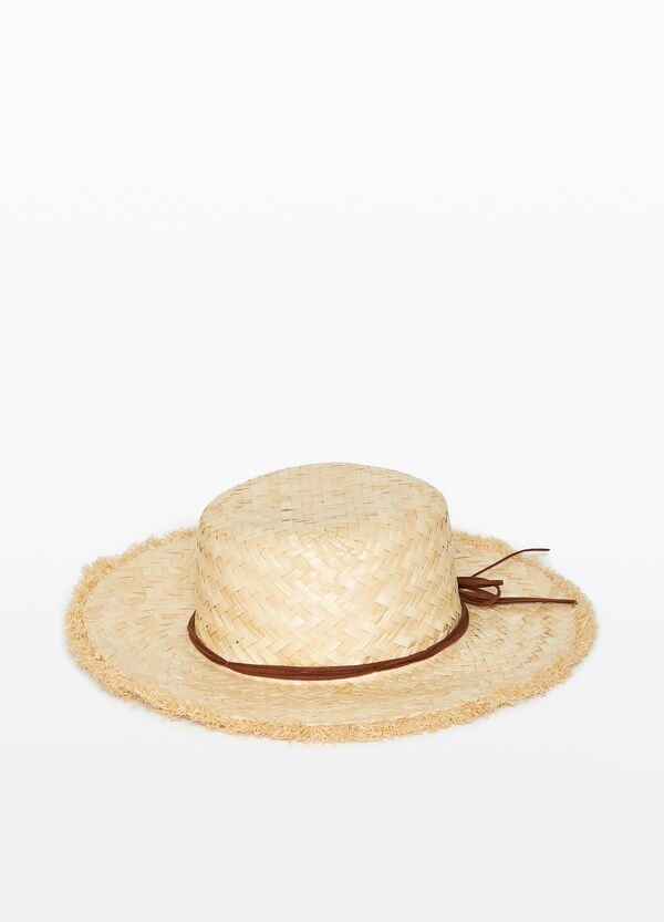 Straw hat with laces