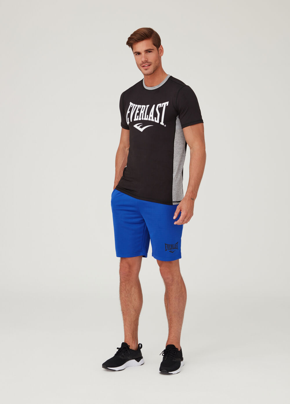 Stretch shorts with Everlast print