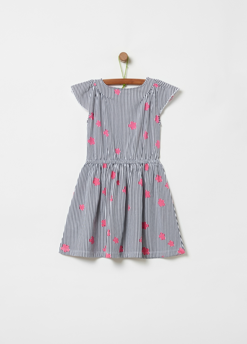 Striped dress with all-over flowers image number null