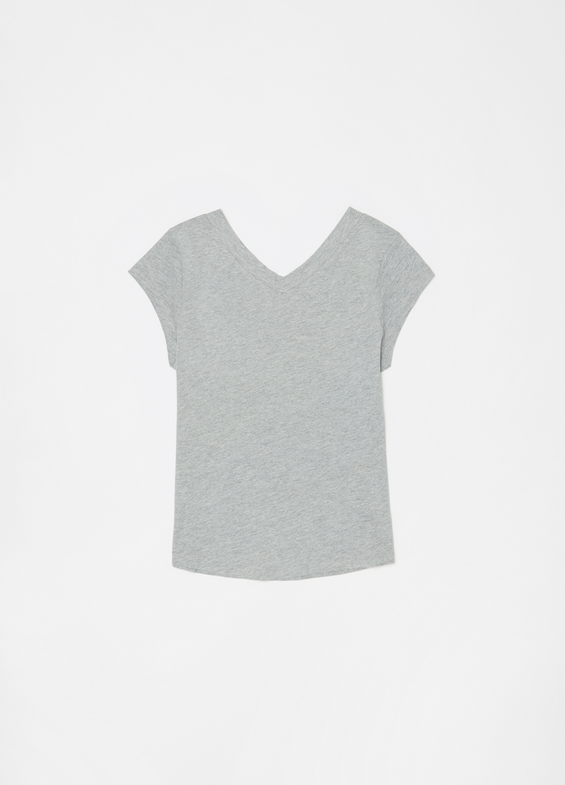 Viscose and cotton T-shirt with small studs image number null