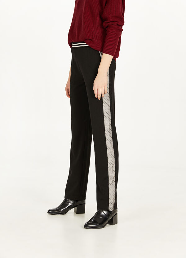Pantaloni stretch bande in tulle