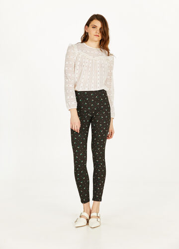 High-waisted trousers with floral print