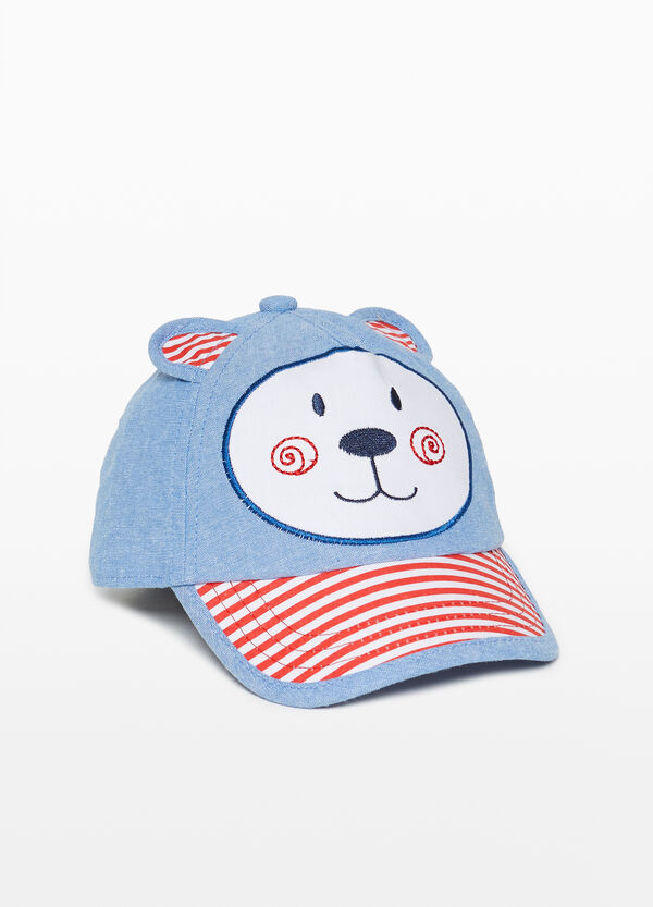 Cotton mélange baseball cap with teddy bear