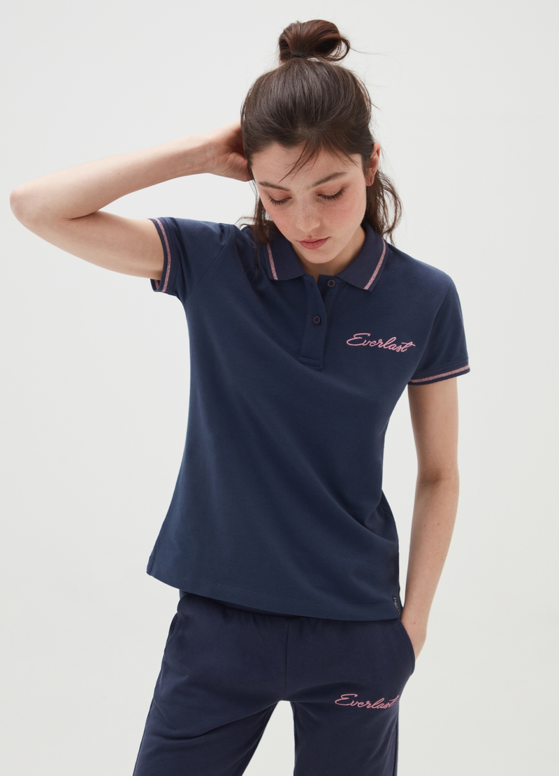 Piquet polo shirt with Everlast glitter trims image number null