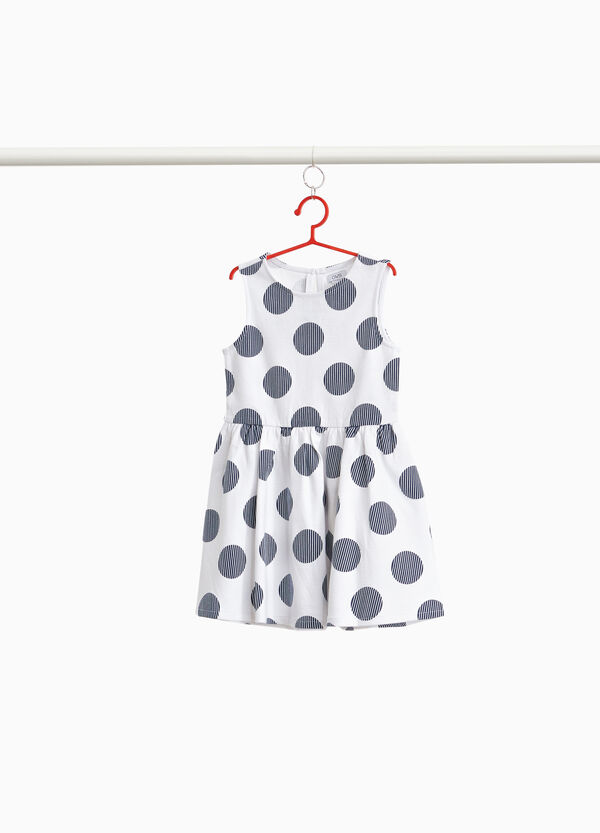 Sleeveless stretch polka dot dress