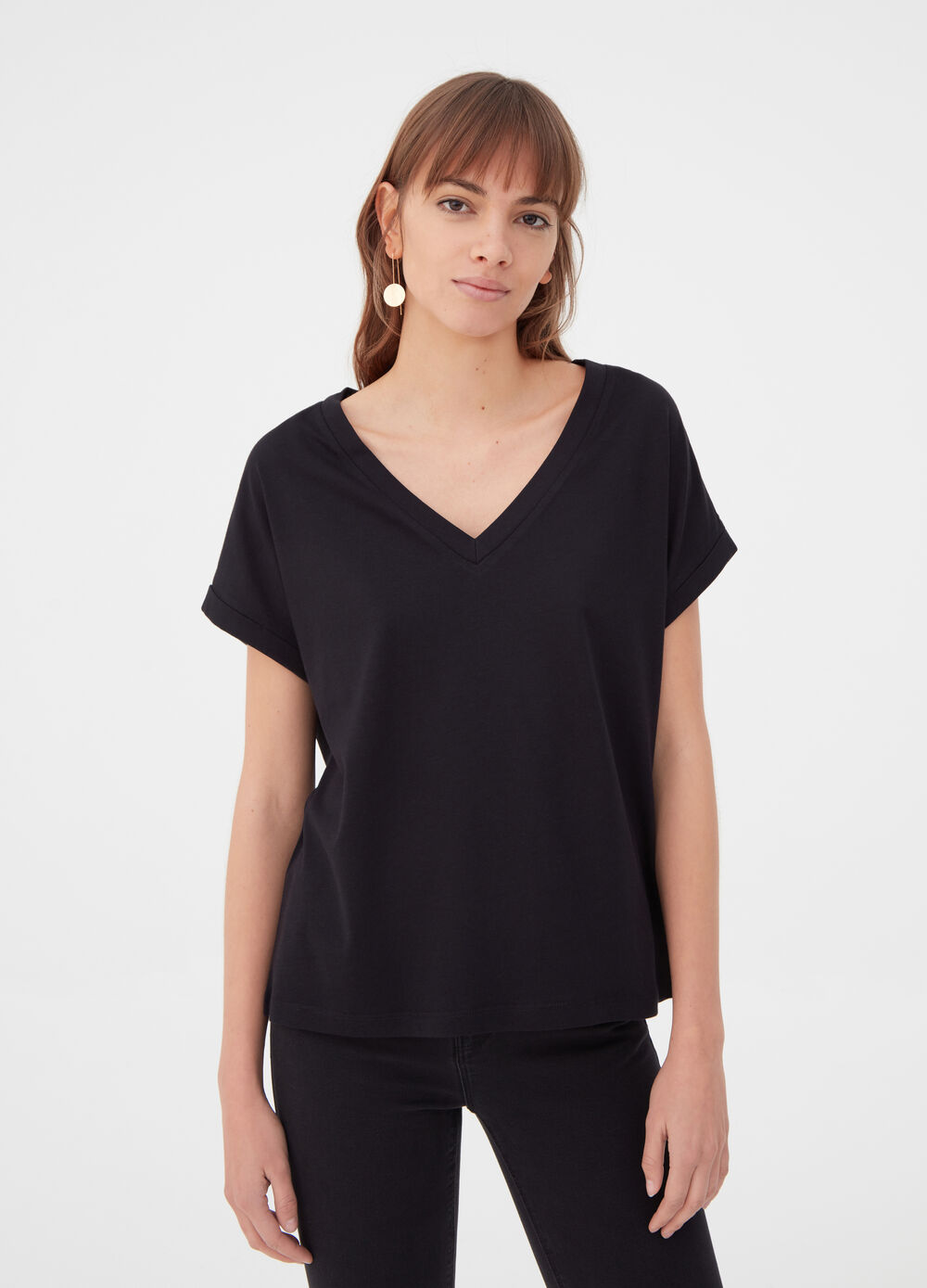 BCI T-shirt with wide cap sleeves