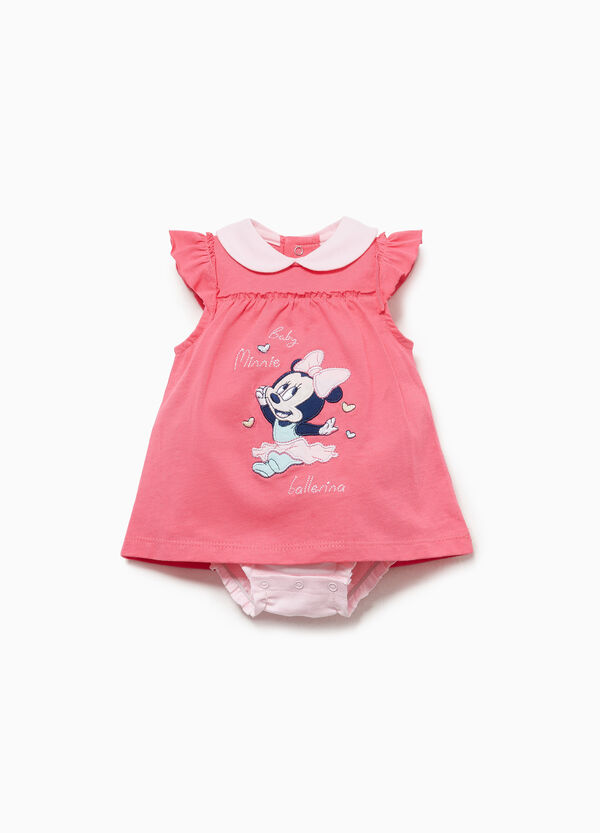 Cotton romper suit with Minnie Mouse patch