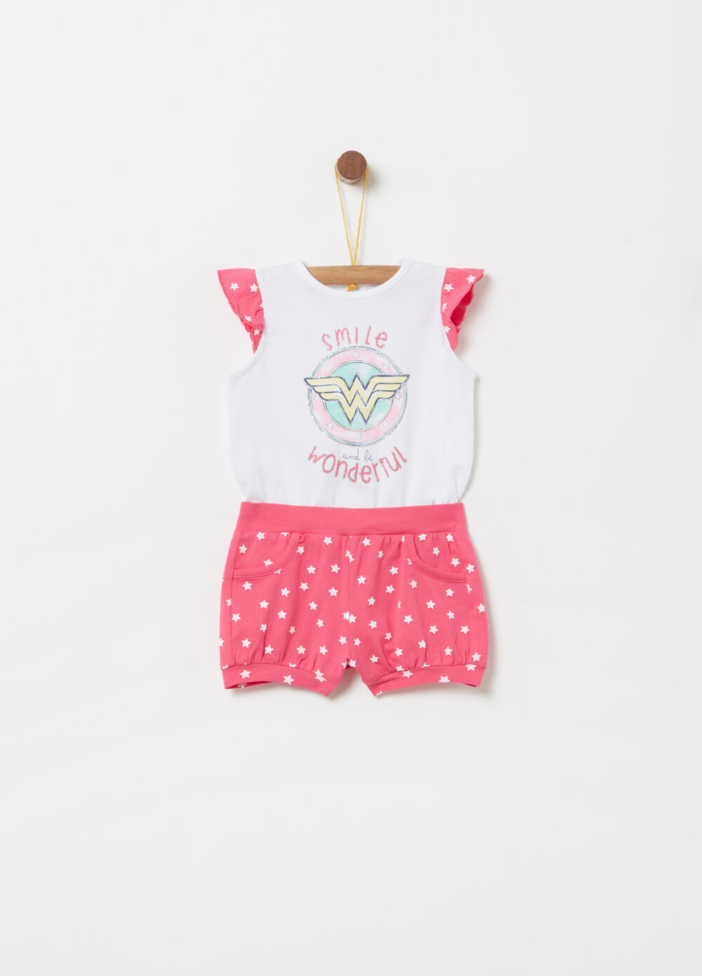 Stretch romper suit with glitter patterned print