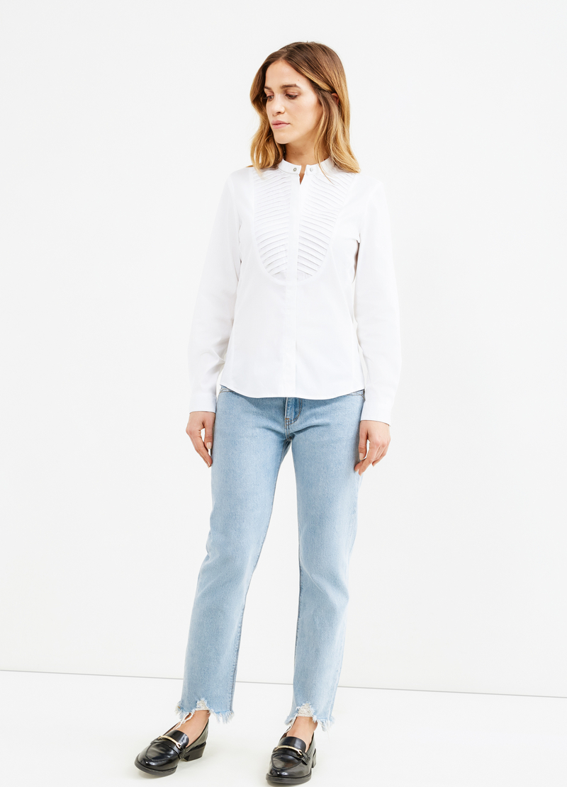 Shirt in poplin with pleating image number null